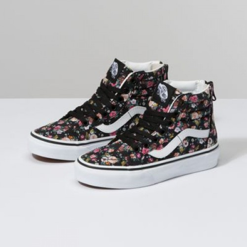 Vans Kids Shoes Kids Butterfly Floral Sk8-Hi Zip Black/Black