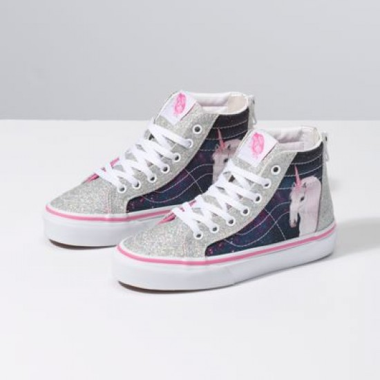 Vans Kids Shoes Kids Digi Unicorn Sk8-Hi Zip Black/True White