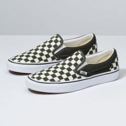 Vans Women Shoes Checkerboard Slip-On Forest Night/True White