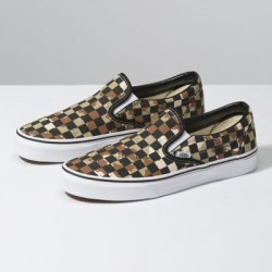 Vans Women Shoes Checkerboard Slip-On Camo Desert/True White