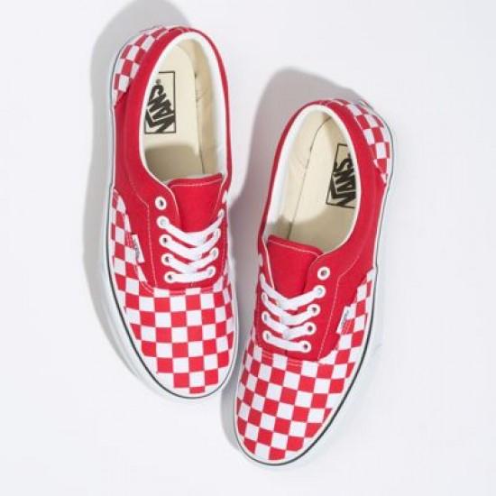 Vans Women Shoes Checkerboard Era Racing Red/True White