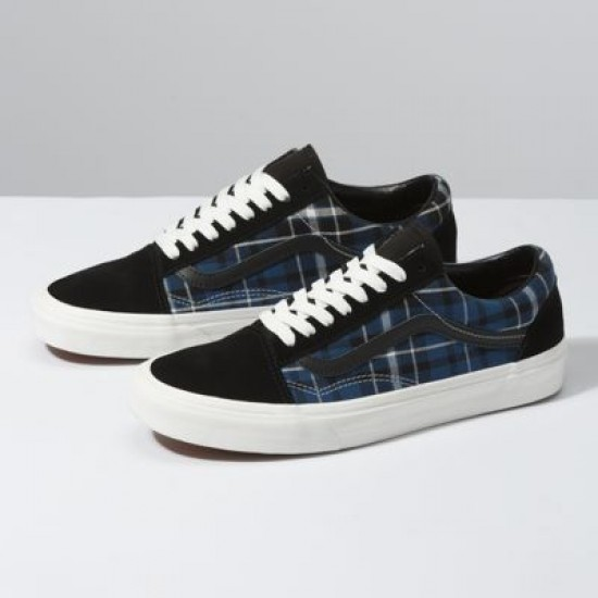 Vans Men Shoes Plaid Mix Old Skool Black/Navy