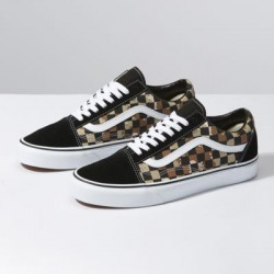 Vans Women Shoes Camo Check Old Skool Checkerboard Desert/True White