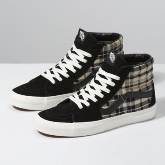 Vans Men Shoes Plaid Mix Sk8-Hi Black/Twill