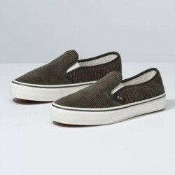 Vans Women Shoes Corduroy & Sherpa Slip-On SF Forest Night/Marshmallow