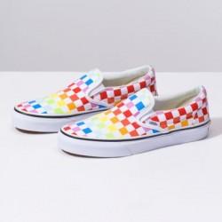 Vans Women Shoes Checkerboard Slip-On Rainbow/True White