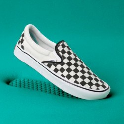 Vans Men Shoes ComfyCush Checkerboard Slip-On Black/Off White