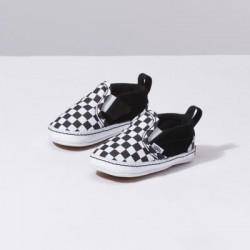 Vans Kids Shoes Infant Checker Slip-On V Crib black/true white