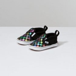 Vans Kids Shoes Infant Iridescent Check Slip-On V Crib Black/True White