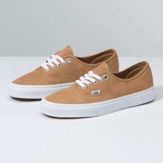Vans Women Shoes OS Grain Leather Authentic Camel
