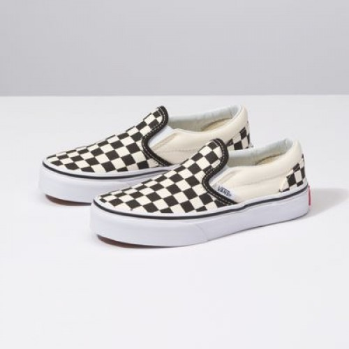 Vans Kids Shoes Kids Checkerboard Slip-On (Checkerboard) black/white