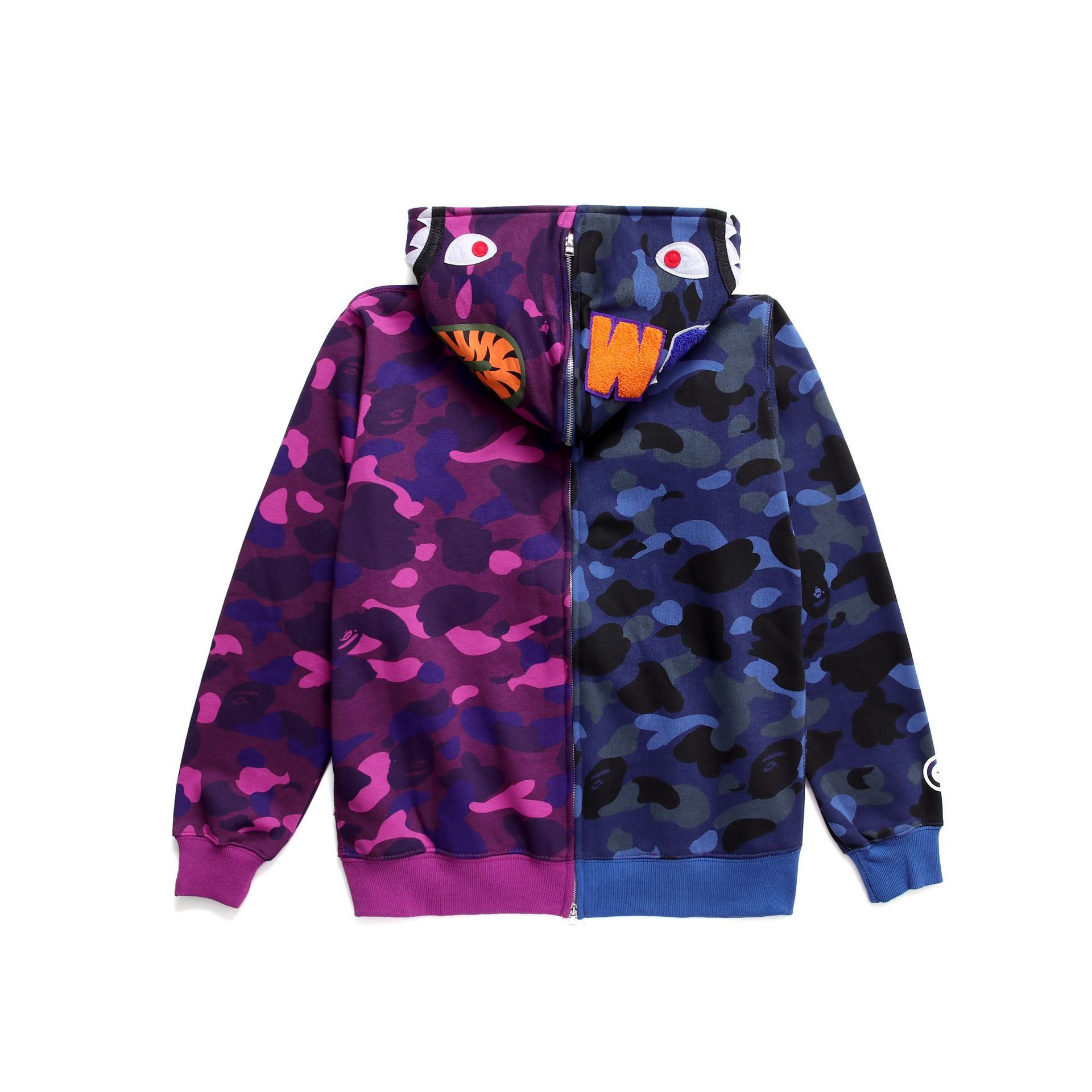 Bape Blue And Purple Shark Hoodie