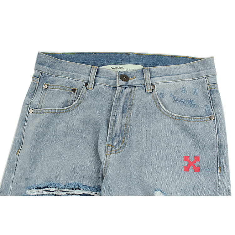 OFF-WHITE Rabbit Pattern Hole Jeans