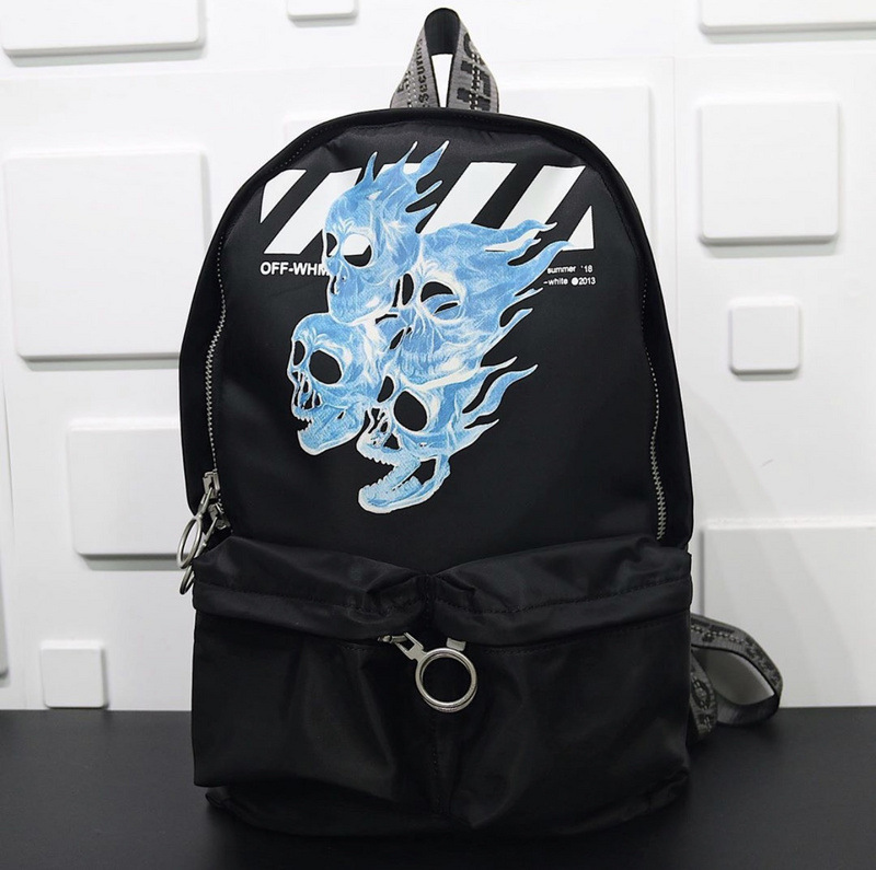 19SS OFF-WHITE Blue Skull Flame Backpack Black