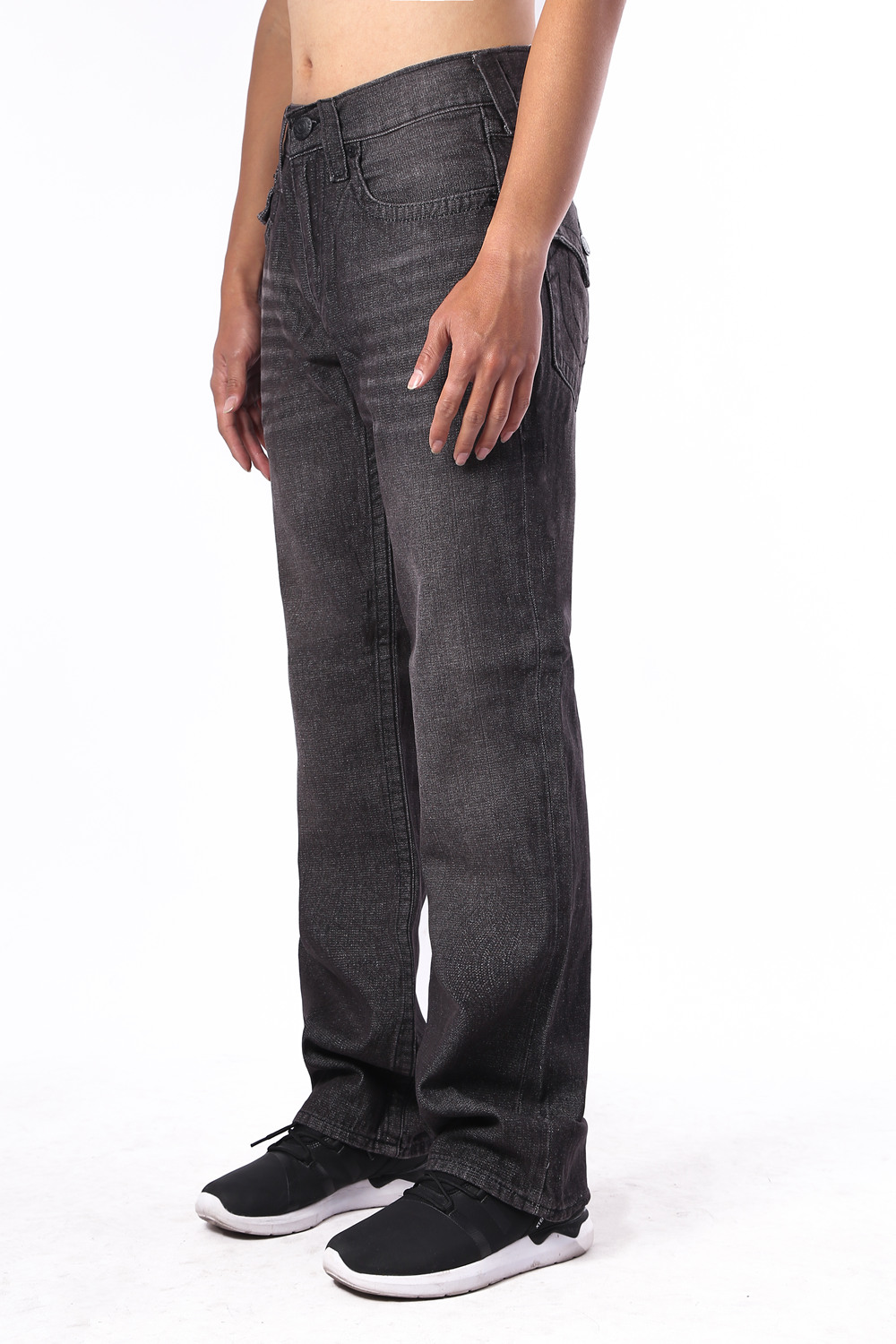 True Religion Mens Jeans Straight Black Side