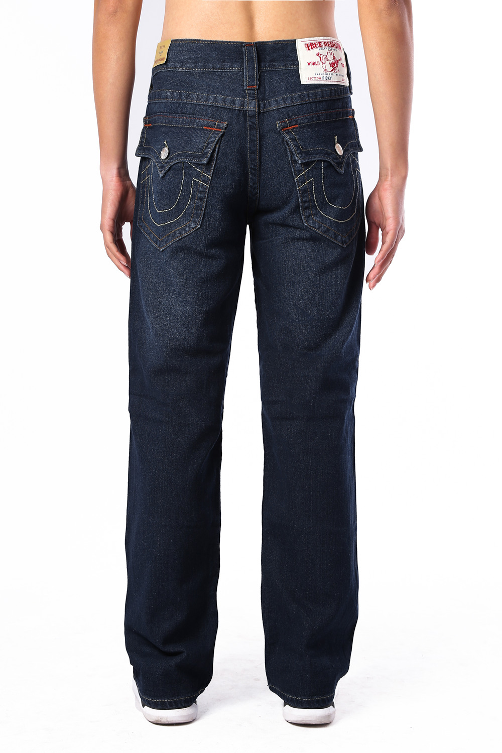 Navy True Religion Mens Jeans Back