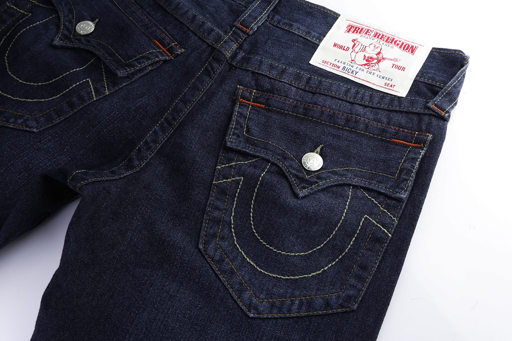 Navy True Religion Mens Jeans Back Poacket