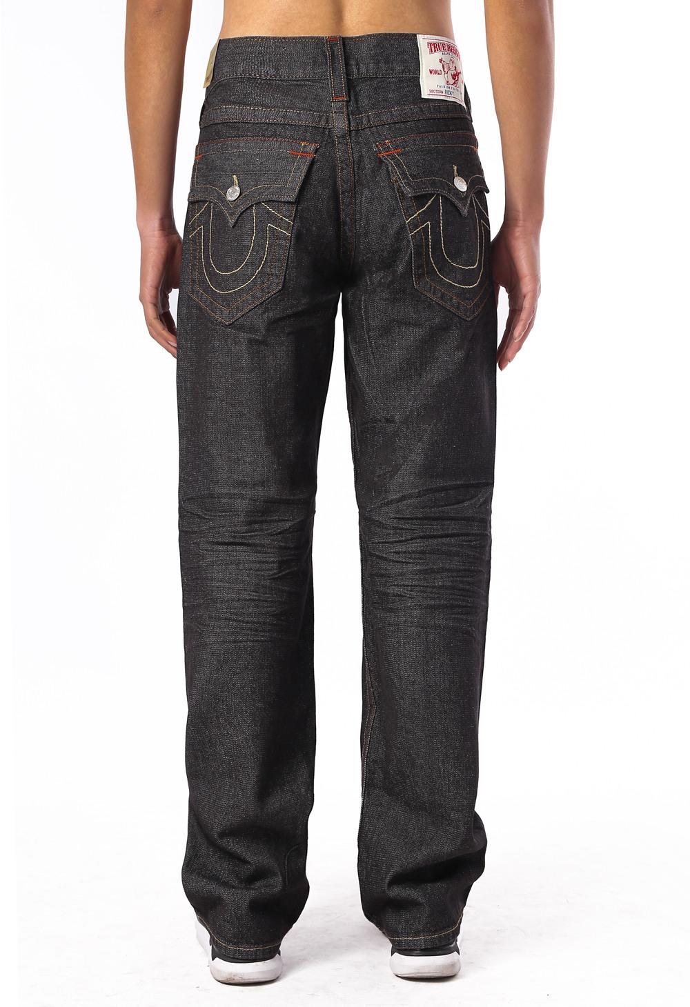 Black Slim True Religion Men's Jeans Back