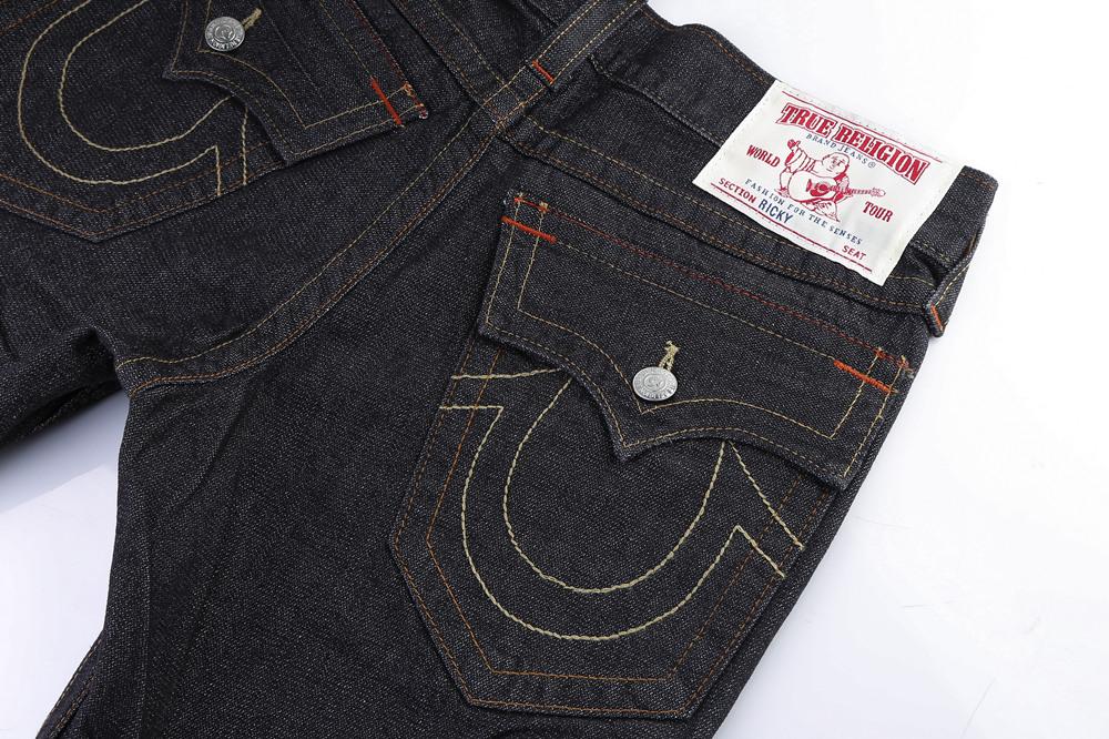 Black Slim True Religion Men's Jeans Back Pocket