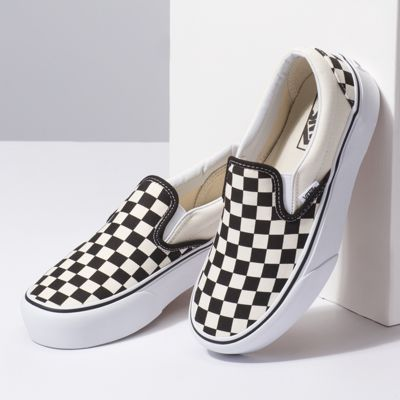 Vans Women Shoes Slip-On Platform black and white checker/white