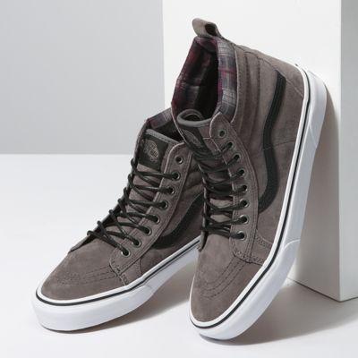 Vans Men Shoes Sk8-Hi MTE PEWTER/PLAID/TRUE WHITE