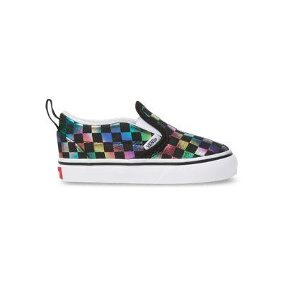 Vans Kids Shoes Toddler Iridescent Check Slip-On V Black/True White