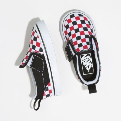 Vans Kids Shoes Toddler Checkerboard Slip-On V Black/Racing Red