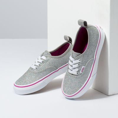 Vans Kids Shoes Kids Glitter Textile Authentic Elastic Lace Silver/True White