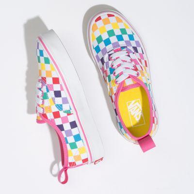 Vans Kids Shoes Kids Checkerboard Authentic Elastic Lace Rainbow/True White
