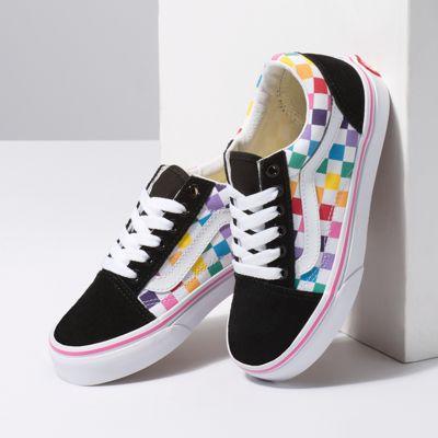 Vans Kids Shoes Kids Checkerboard Old Skool Rainbow/True White