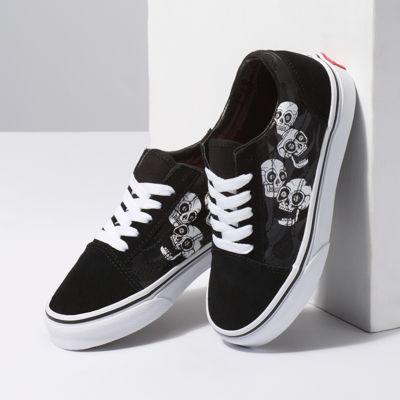 Vans Kids Shoes Kids Glossy Flame Old Skool Skulls/Black