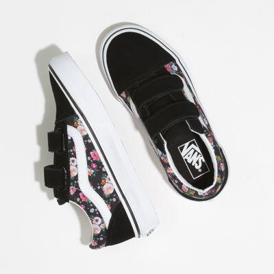 Vans Kids Shoes Kids Butterfly Floral Old Skool V Black/Black