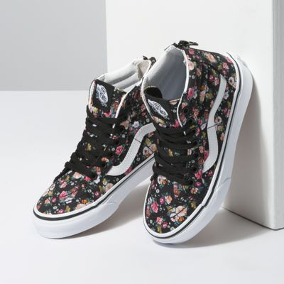 Vans Kids Shoes Kids Butterfly Floral Sk8-Hi Zip Black/Black
