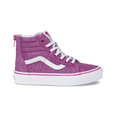 Vans Kids Shoes Kids Glitter Textile Sk8-Hi Zip Pink/True White