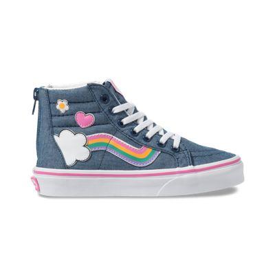 Vans Kids Shoes Kids Rainbow Sidestripe Sk8-Hi Zip Denim/True White