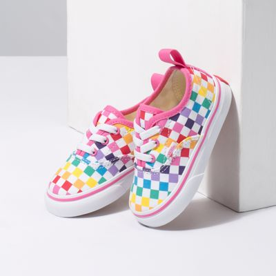 Vans Kids Shoes Toddler Checkerboard Authentic Elastic Lace Rainbow/True White
