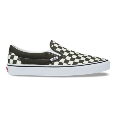 Vans Women Shoes Checkerboard Slip-On Forest Night/True White