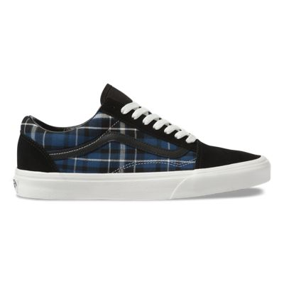 Vans Men Shoes Plaid Mix Old Skool Black/Navy