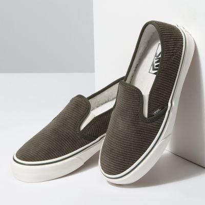 Vans Women Shoes Corduroy & Sherpa Slip-On SF Forest Night/Marshmallow