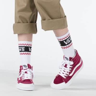 Vans Women Shoes Velvet Sk8-Hi Reissue 138 Beet Red/True White