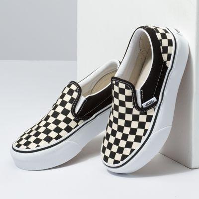 Vans Kids Shoes Kids Classic Slip-On Platform Black and White Checker/White