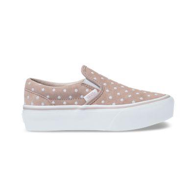 Vans Kids Shoes Kids Suede Polka Dot Slip-On Platform Shadow Gray/True White