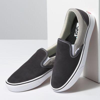 Vans Men Shoes ComfyCush Suede & Canvas Slip-On Asphalt/Drizzle