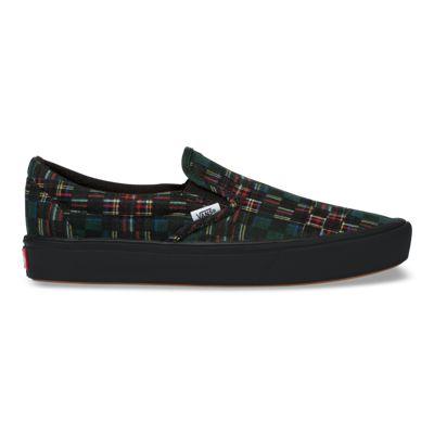 Vans Women Shoes ComfyCush Plaid Check Slip-On Green/True White