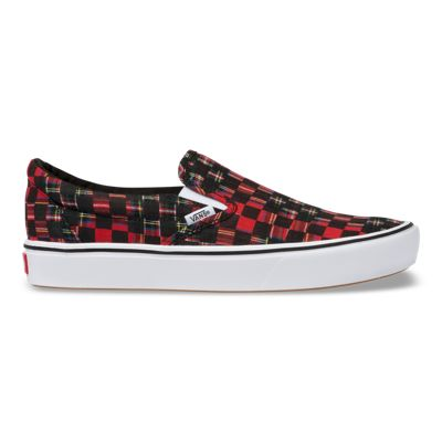 Vans Women Shoes ComfyCush Plaid Check Slip-On Red/True White