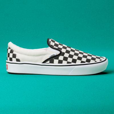 Vans Women Shoes ComfyCush Checkerboard Slip-On Black/Off White