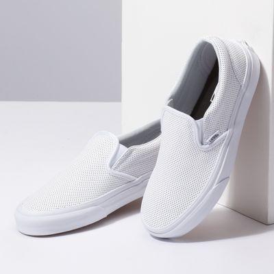 Vans Women Shoes Slip-On Perf Leather white