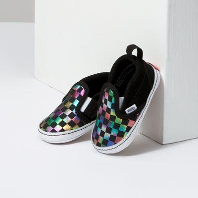 Vans Kids Shoes Infant Iridescent Check Slip-On V Crib Black/True White